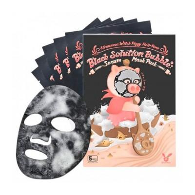 Тканевая маска для лица Elizavecca Witch Piggy Hell-Pore Black Solution Bubble Serum